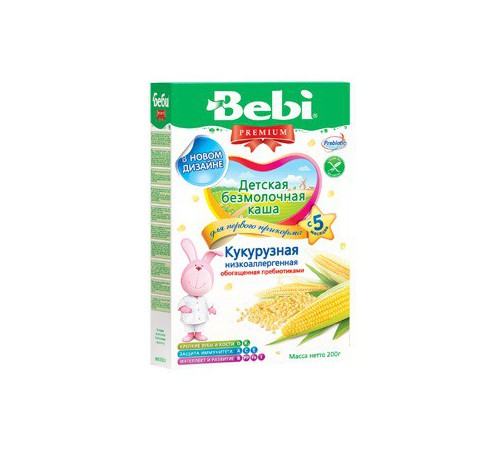 bebi  безмолочная низкоаллергенная кукурузная каша 200gr.(5+)