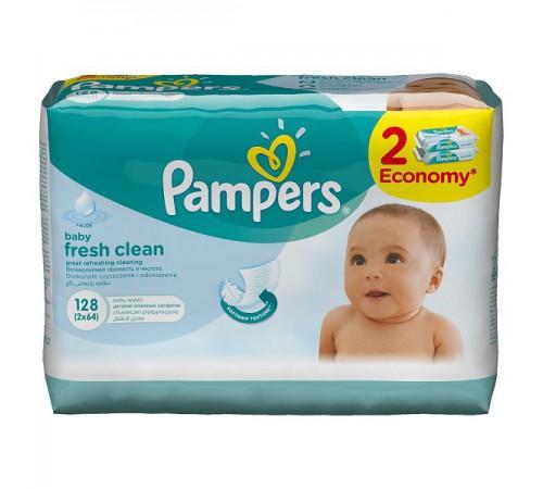 pampers Влажные салфетки fresh clean + aloe (128 шт.)