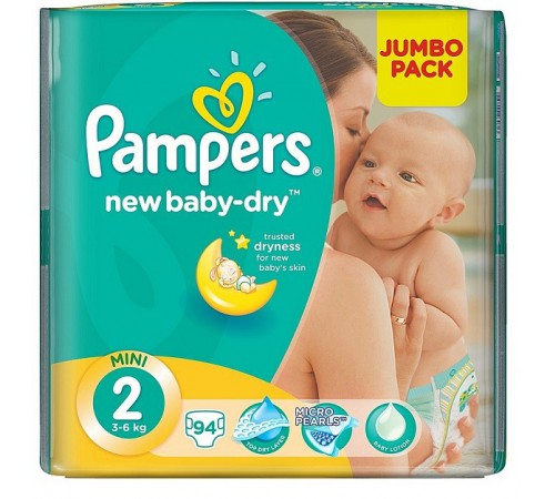 pampers new baby mini 2 (3-6 kg.) 94 buc.
