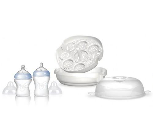 "nuby idvp50 sterilizator pentru microunde ""natural touch"" cu 2 sticle"