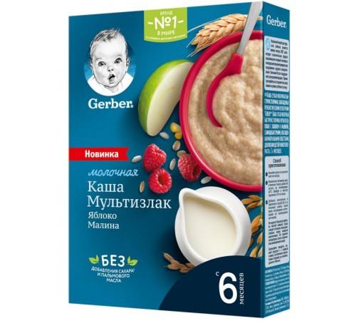 gerber Каша молочная Мультизлаковая с яблоком и малиной 180 гр. (6м+)