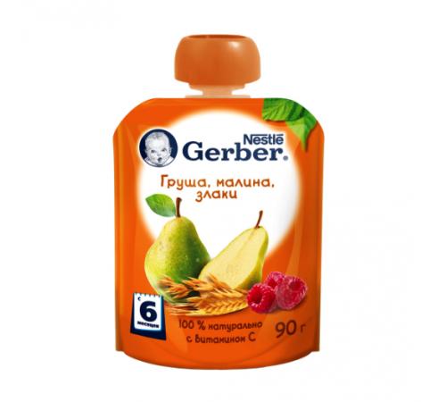 """gerber piure """"pere-zmeură-cereale"""" 90 gr. (6+)"""
