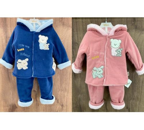Одежда для малышей в Молдове flexi 219019 Тёплый костюм на меху 2 ед. (9-12-18-24 мес.) в асс.