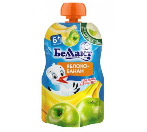 Детское питание в Молдове Беллакт Пюре из яблок и бананов 90 гр. (6 м. +)