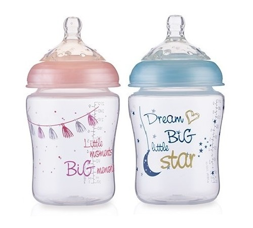 nuby id68060 biberon anti-colic little moments (270 ml.) in sort.