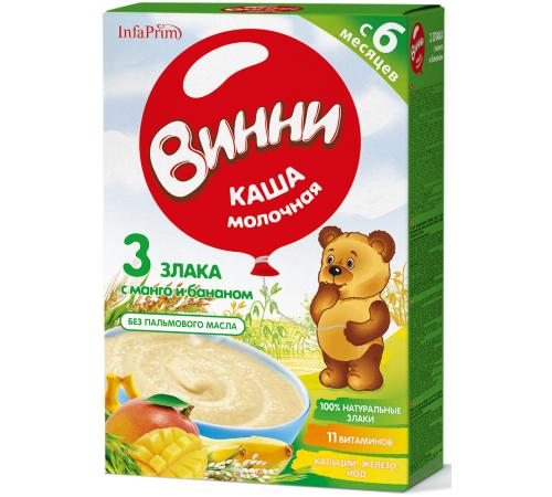 Винни Каша молочная 3 злака с манго и бананом (6 м+)200 гр.