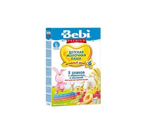bebi premium Молочная каша 5 злаков с абрикосом и малиной 200gr. (6m+)