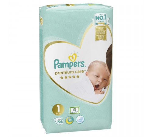 pampers vp premium care new baby 1, 54шт., 2-5 кг