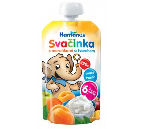 """Детское питание в Молдове hame Пюре """"hamanek"""" Яблоко-Абрикос-Творог (6 м+) 120 гр."""