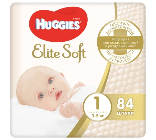 huggies elite soft 1(3-5 kg.) 84 buc.