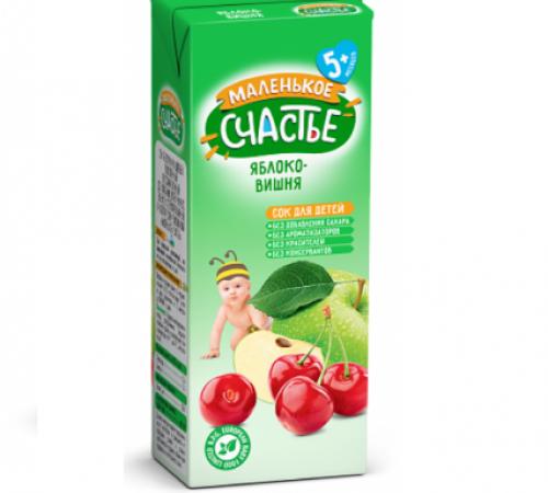 """Детское питание в Молдове """"Маленькое Счастье"""" Сок яблоко-вишня 200 мл.(5m+)"""