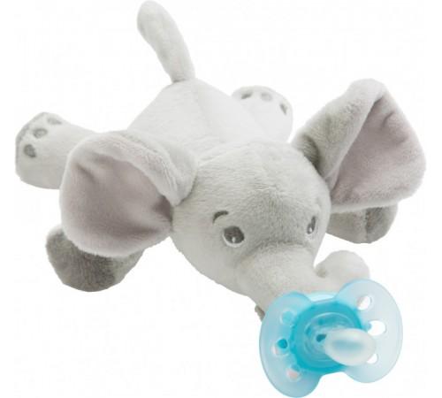 """avent scf348/13  suzeta din silicon ultra-air cu jucărie de pluș """"elefant"""" (0-6 m.) 1 buc."""
