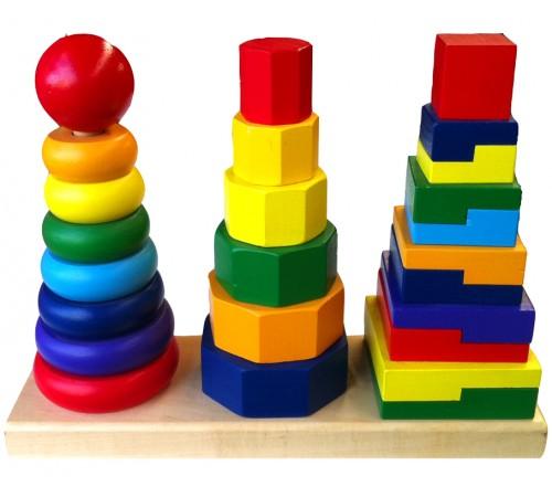 """Детскиймагазин в Кишиневе в Молдове 3toysm u2/50567 Тройная пирамидка """"Геометрические фигуры"""""""