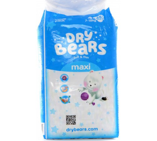 dry bears soft&thin maxi 4 (7-18 кг.) 44 шт.
