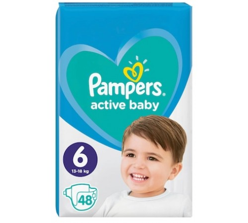 pampers active baby 5 (13-18 kg.) 48 buc.