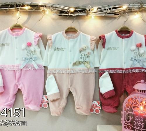 Одежда для малышей в Молдове twetoon baby Комбинезон с шапочкой, велюр 114151