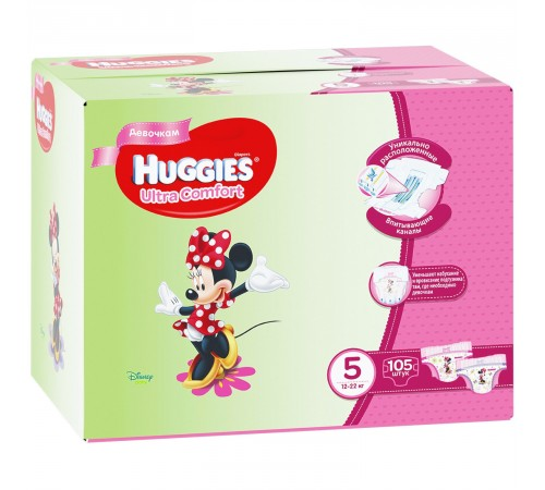 huggies ultra comfort box girl 5 (12-22 кг.) 105 шт.