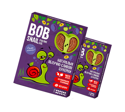 Детское питание в Молдове Натуральные Яблочно-Сливовые Конфеты ТМ bob snail (Улитка БОБ) 60 г