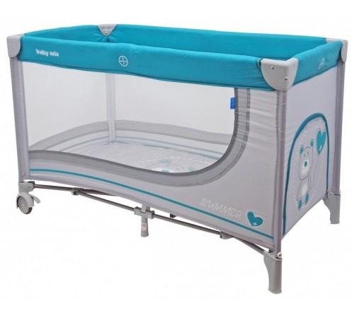 """baby mix hr-8052-192 Манеж детский """"Мишка"""" серый/голубой"""