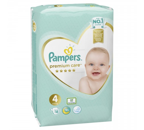 pampers premium care 4 (9-14 кг) 18 шт.