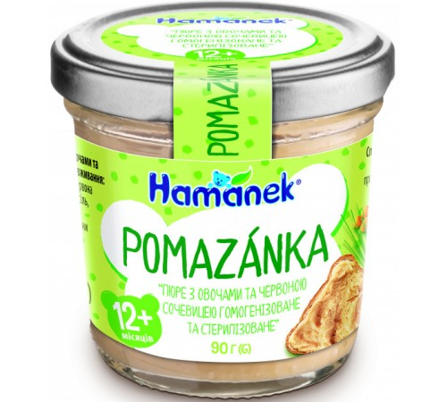 "hame Пюре ""hamanek"" Помазанка овощи с чечевицей (12 м+) 90 гр."