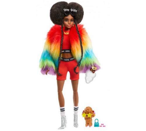 """barbie gvr04  păpușă """"extra"""" într-o pelerină curcubeu"""