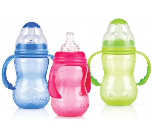 Детское питание в Молдове nuby id1095 Бутылочка anti-colic с ручками (3 м +) 300 мл.