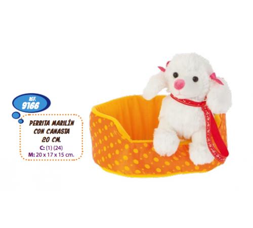 artesanía beatriz 9166 Мягкая игрушка собачка в корзине 20 см
