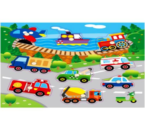 """Детскиймагазин в Кишиневе в Молдове baby mix wts-63047 Деревянные пазлы """"Спецтранспорт"""""""