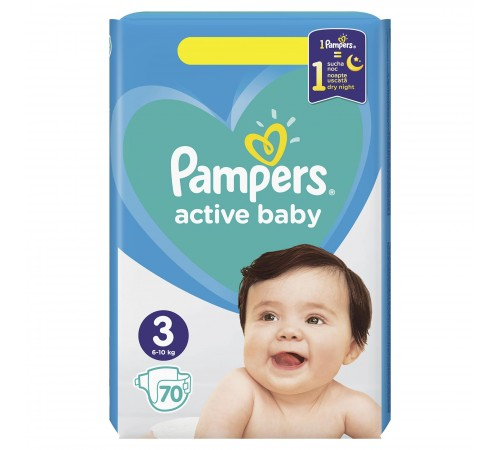 pampers active baby 3 (6-10 kg.) 70 buc.