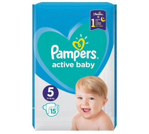 pampers active baby 5 (11-16 kg.) 15 buc.