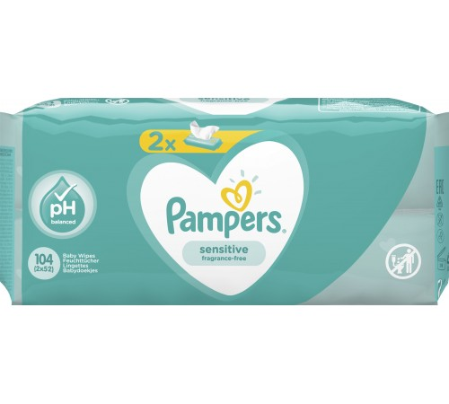 pampers servetele umede sensitive 104buc (2x52), 7345