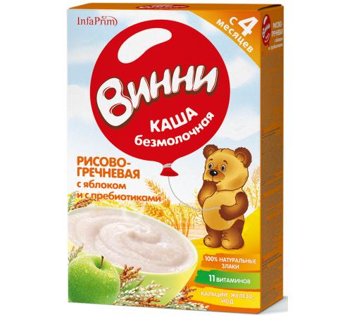 Детское питание в Молдове Винни Каша безмолочная Рисово-гречневая с яблоком и пребиотиками (4 m+) 200 gr.