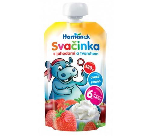 """Детское питание в Молдове hame Пюре """"hamanek"""" Яблоко-Клубника-Творог (6 м+) 120 гр."""