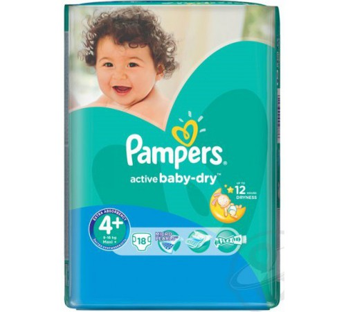 pampers active baby maxi plus 4+ (9-16 кг.) 18 шт.