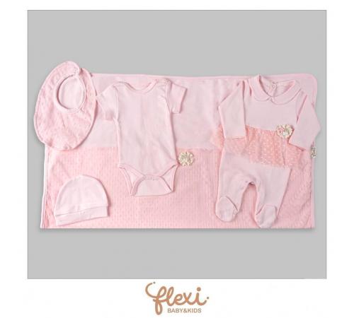 """Одежда для малышей в Молдове flexi 234179 Набор на выписку из 5единиц """"Розовый"""""""