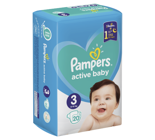pampers active baby 3 (6-10 kg.) 20 buc.