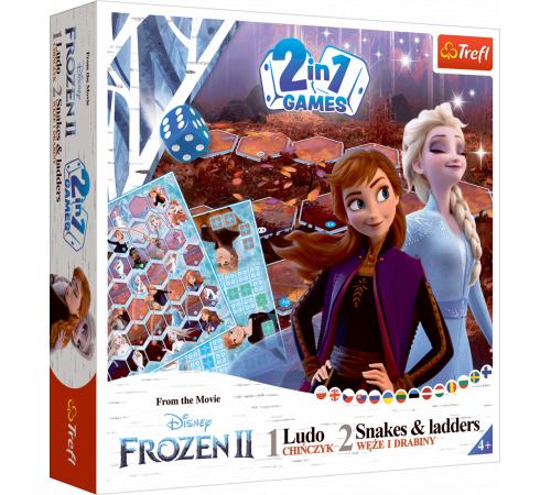 """trefl 02068 joc de masă 2 în 1 ludo """"Șerpi și scări"""" frozen 2"""