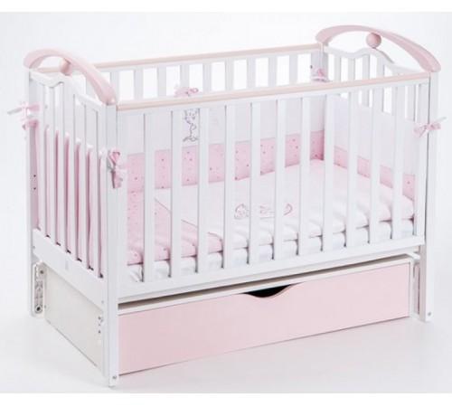 veres 05.08 Кроватка ЛД5 цвет бело-розовый/ маятник + ящик (120x60 см.)