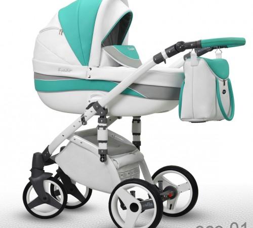 Детские коляски в Молдове wiejar Коляска evado 2в1 01  eco-кожа, белый-бирюза