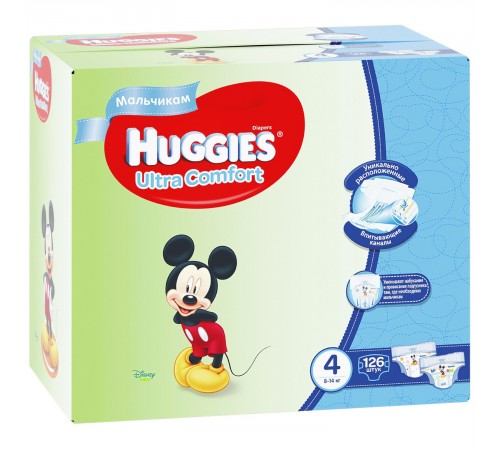 huggies ultra comfort box boy 4 (8-14 kg.) 126 buc.