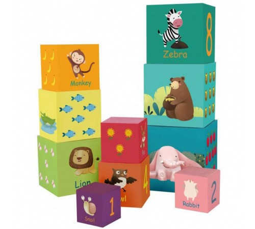 """classic world 20019 cuburi de lemn-piramida """"animale sălbatice"""""""
