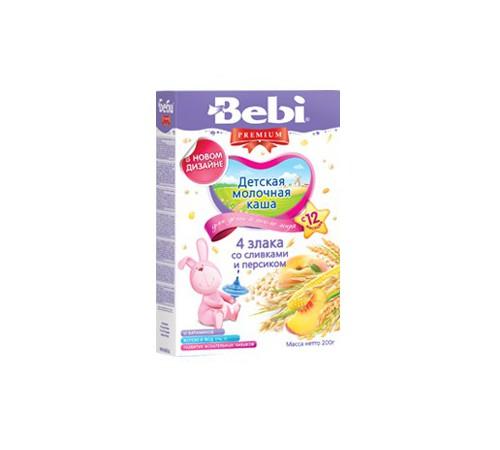 Детское питание в Молдове bebi молочная каша из 4 злаков со сливками и персиком 200gr.(12+)
