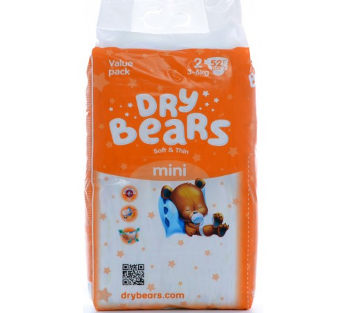 dry bears soft&thin 2 mini (3-6 кг) 52 шт.