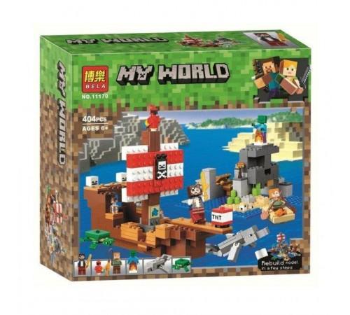 """bela РД02.205 Конструктор """"my world"""" Приключения на пиратском корабле (404 дет.)"""