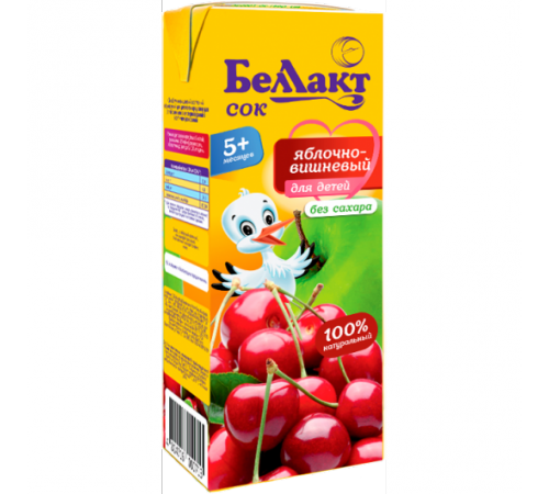 Беллакт suc de mere și cireșe 200 ml. (5 m. +)