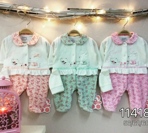 Одежда для малышей в Молдове twetoon baby Комбинезон с шапочкой, велюр 114188