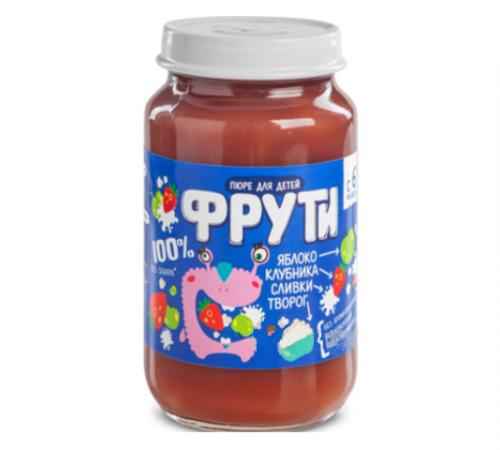 """Детское питание в Молдове """" Маленькое счастье """" . Пюре  """"Фрути"""" яблоко-клубника, творог, сливки 180 г  (6m+)"""