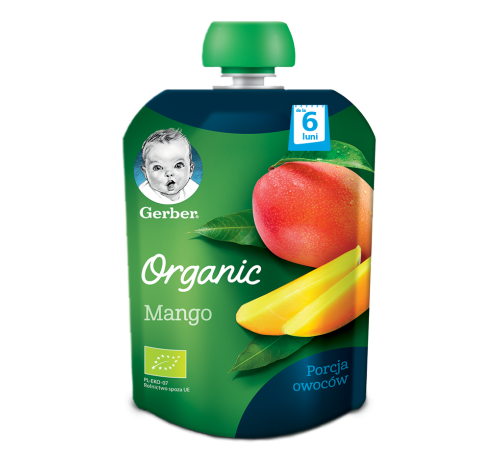 """Детское питание в Молдове gerber organic Пюре """"Манго"""" 90 гр.  (6+)"""