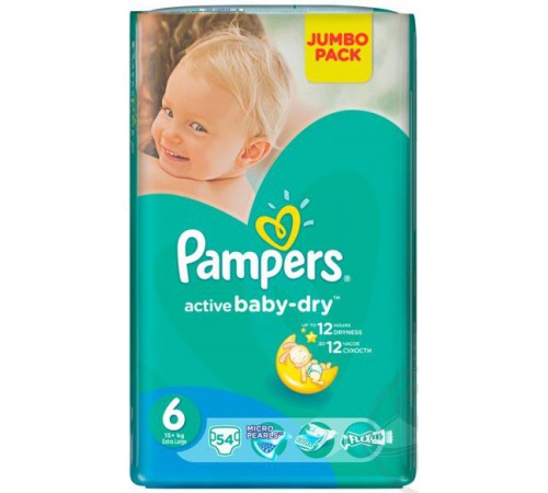 pampers active baby extra large 6 (15+ kg.) 54 buc.